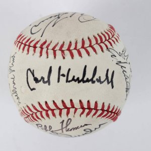 1983 Signed All-Star Game 50th Anniversay HOFers,Carl Hubbell,Lefty Gomezy,