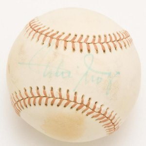"""NY Giants - Willie Mays Single-Signed (Feeney) Ball (PSA/DNA Full LOA). Vintage signature autographed in blue felt tip Signature grades 6-78""""). Charles Feeney baseball in EX/MT condition with mild tone spots."""