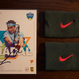 A Pair of Rafael Nadal Game-Used Custom Nike Tennis Wristbands.  2013 US Open Final (Men's Singles Champion).