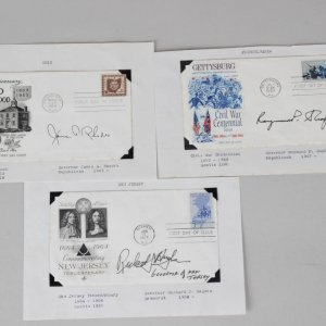 (3) State Govenor Signed First Day Covers FDC - New Jersey, Ohio & Pennsylvania