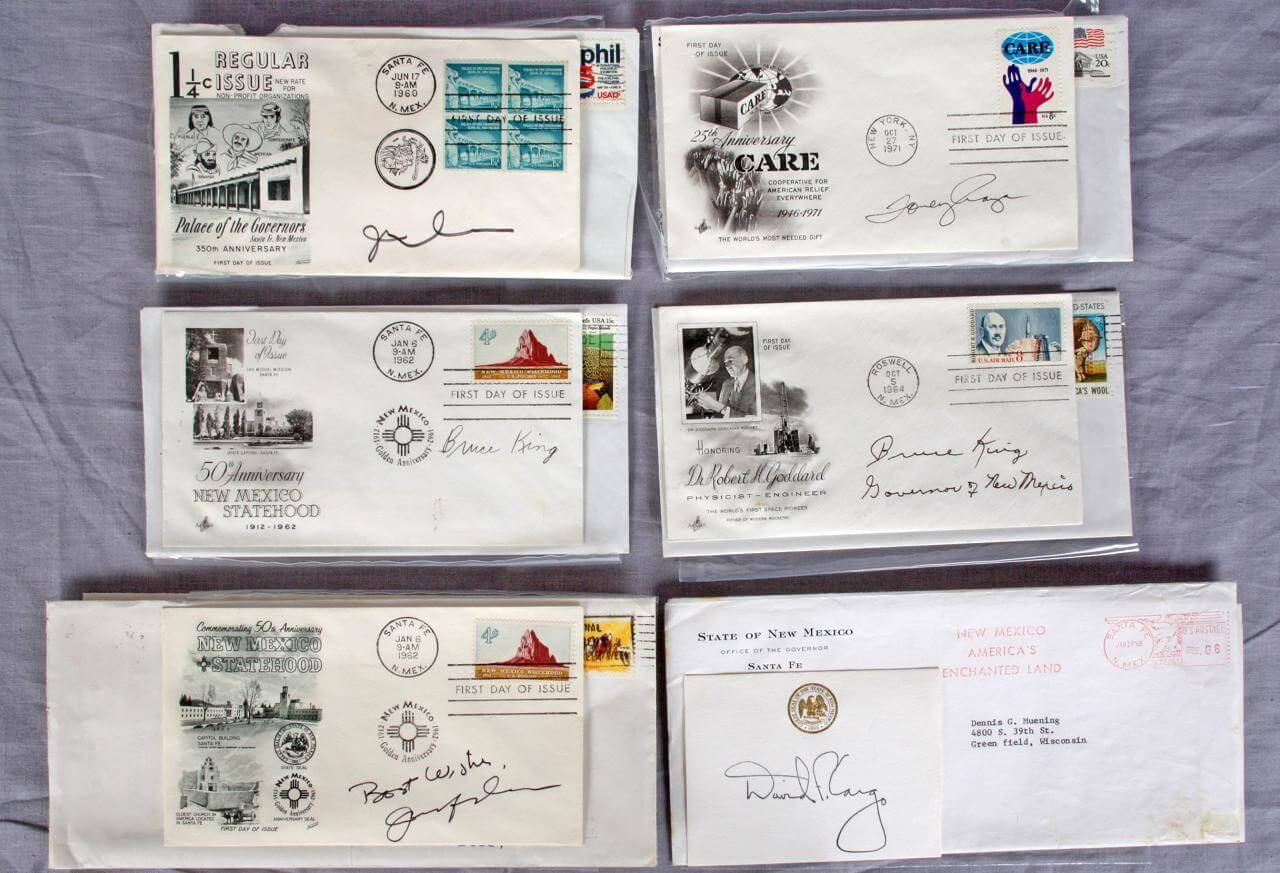 Governors of New Mexico Lot Signed FDCs & Letters - Feat. Toney Anaya, Bruce King, David Cargo & Jerry Apodaca