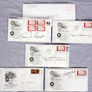 Political Autograph FDC Lot feat. Governors of North Carolina (5) Hunt, Scott, Martin & (2) Holshouser