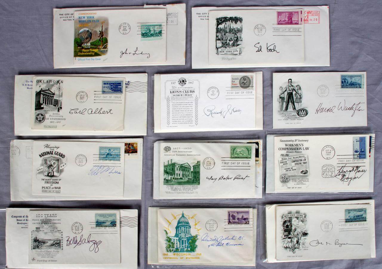 11 Historical First Day Cover autographs Mayors, House Reps, Treasury - COA