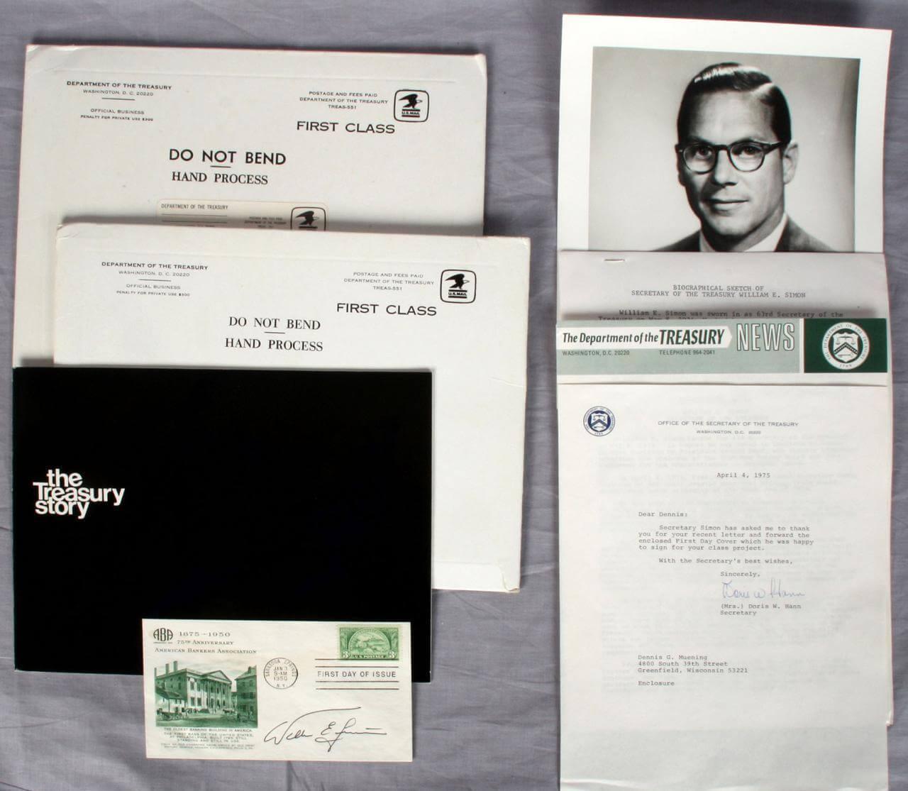 1975 U.S. Dept. of Treasury Secretary Simon Lot - Official Gov. FDC, Letters, Photo, Booklets