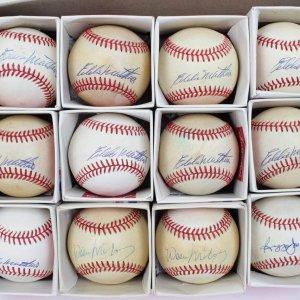 Large HOFer Single-Signed OAL & ONL Baseball Lot - (12) Feat. (9) Eddie Mathews, (2) Willie McCovey & Reggie Jackson