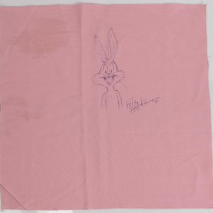 Bugs Bunny Friz Freleng Original Sketch and Autograph on Friars Club Pink Napkin Dated 1990