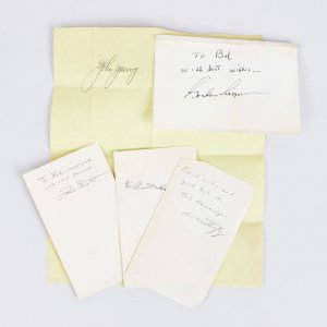 NASA Astronauts Signed Cut Autographs - (5) Lot Feat. Ken Mattingly, Deke Slayton, Dave Scott, Gordon Cooper & John Young