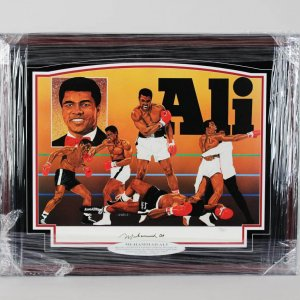 Boxing Great -  Muhammad Ali Vintage Full Name Signature  Signed Lithograph Display LE 90/500 (Artwork by V. Wells )