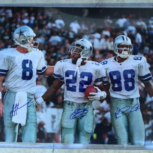 Troy Aikman Emmitt Smith Michael Irvin Autographed 16x20 Photo MOUNTED MEMORIES