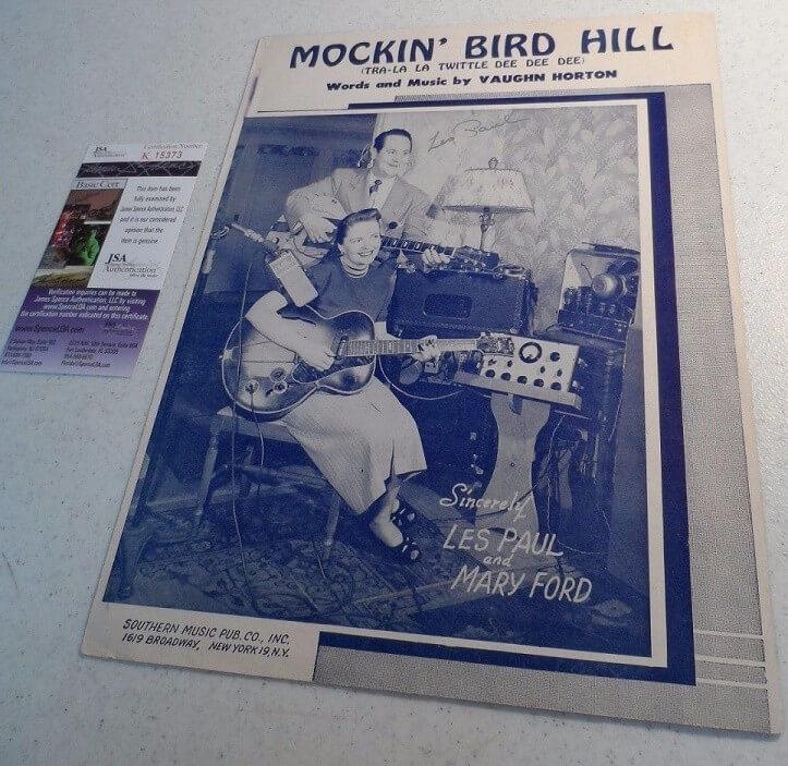 Les Paul Signed 1949 Sheet Music with JSA COA Music History