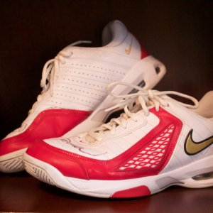 A Pair of Serena Williams Game-Used & Signed Custom Nike Tennis Shoes.  2008 Beijing Olympic Games.  Women's Doubles Final.