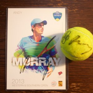 An Andy Murray Game-Used & Signed Match Ball.  2015 ATP Western & Southern Open.  Includes Signed Tournament Postcard.