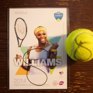 A Serena Williams Game-Used & Signed Tennis Match Ball.  2015 WTA Western & Southern Open Women's Singles Final.  Includes Signed Official Tournament Postcard.
