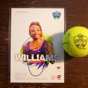 A Serena Williams & Venus Williams Signed Match Ball.  2015 WTA Western & Southern Open.  Includes a Signed Official Tournament Postcard.