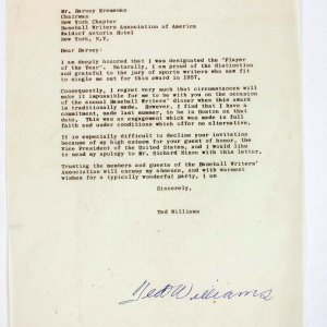 Boston Red Sox - Ted Williams Typed Signed Letter To Baseball Writers Association of America For Award 1957