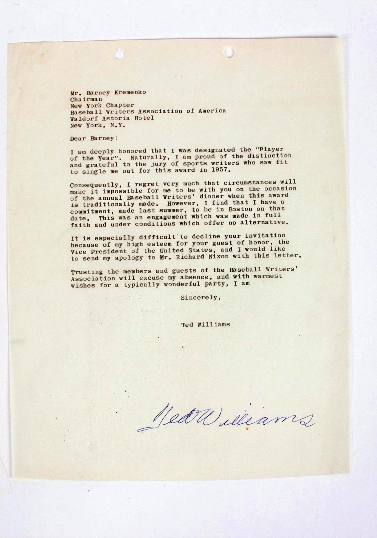 Boston red sox ted williams typed signed letter to baseball boston red sox ted williams typed signed letter to baseball writers association of america for stopboris Image collections