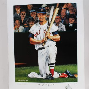 Boston Red Sox Ted Williams Signed Limited Edition 984/1000 22x27 Poster By Artist George Wright