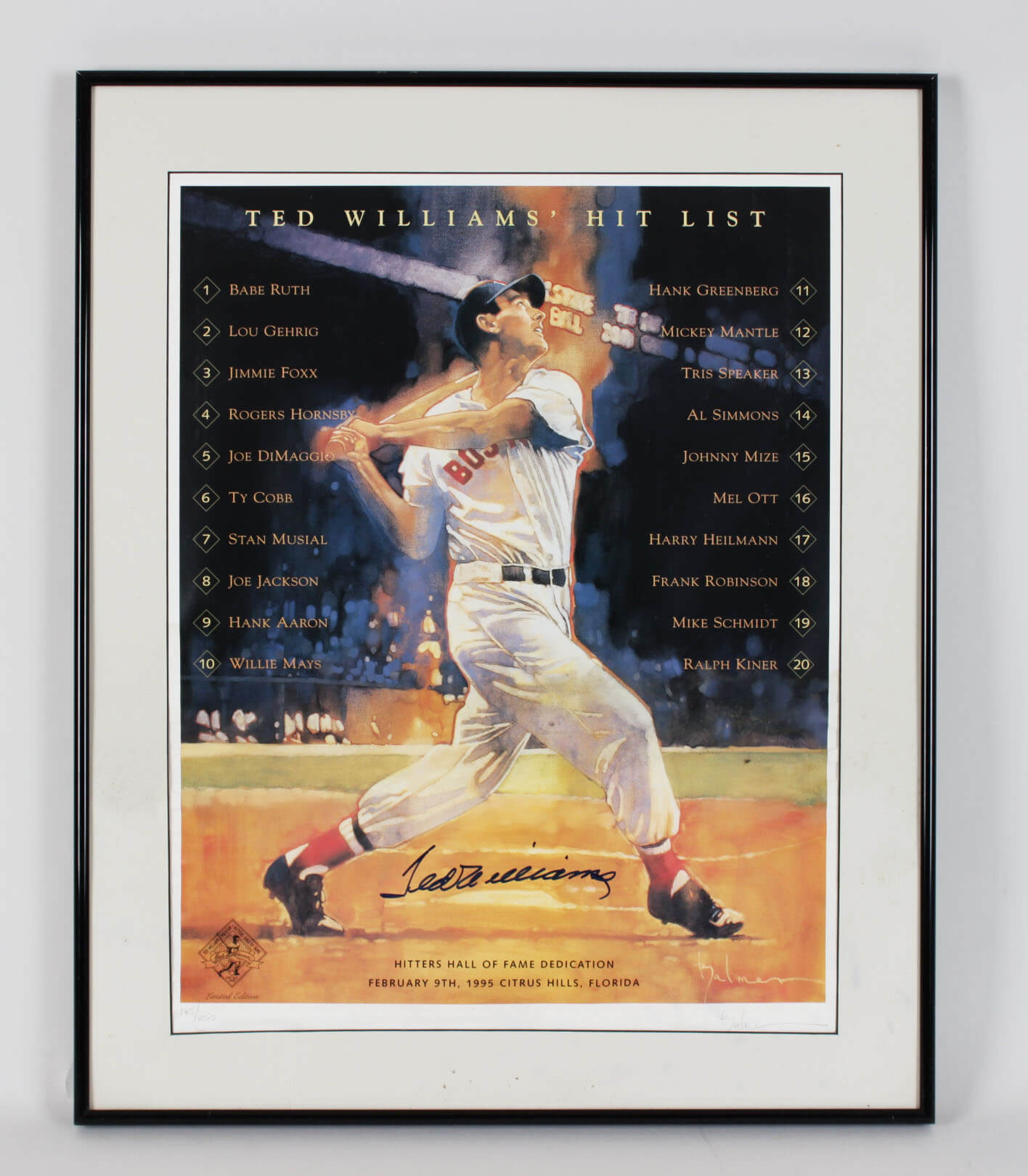 1995 Boston Red Sox - Ted Williams Signed 16x20 Hitters HOF Dedication Poster - JSA