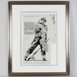 Boston Red Sox - Ted Williams as Outdoorsman Vintage Original Artwork by Willard Mullin