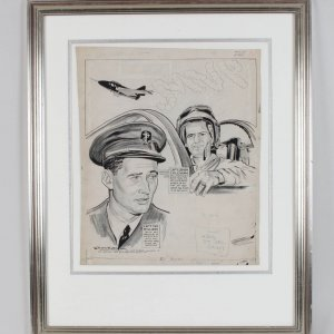 "Vintage Red Sox & Yankees Military Service Airmen - Ted Williams & Jerry Coleman ""The Skywriters"" Original Artwork by Willard Mullin 25x31 Display"