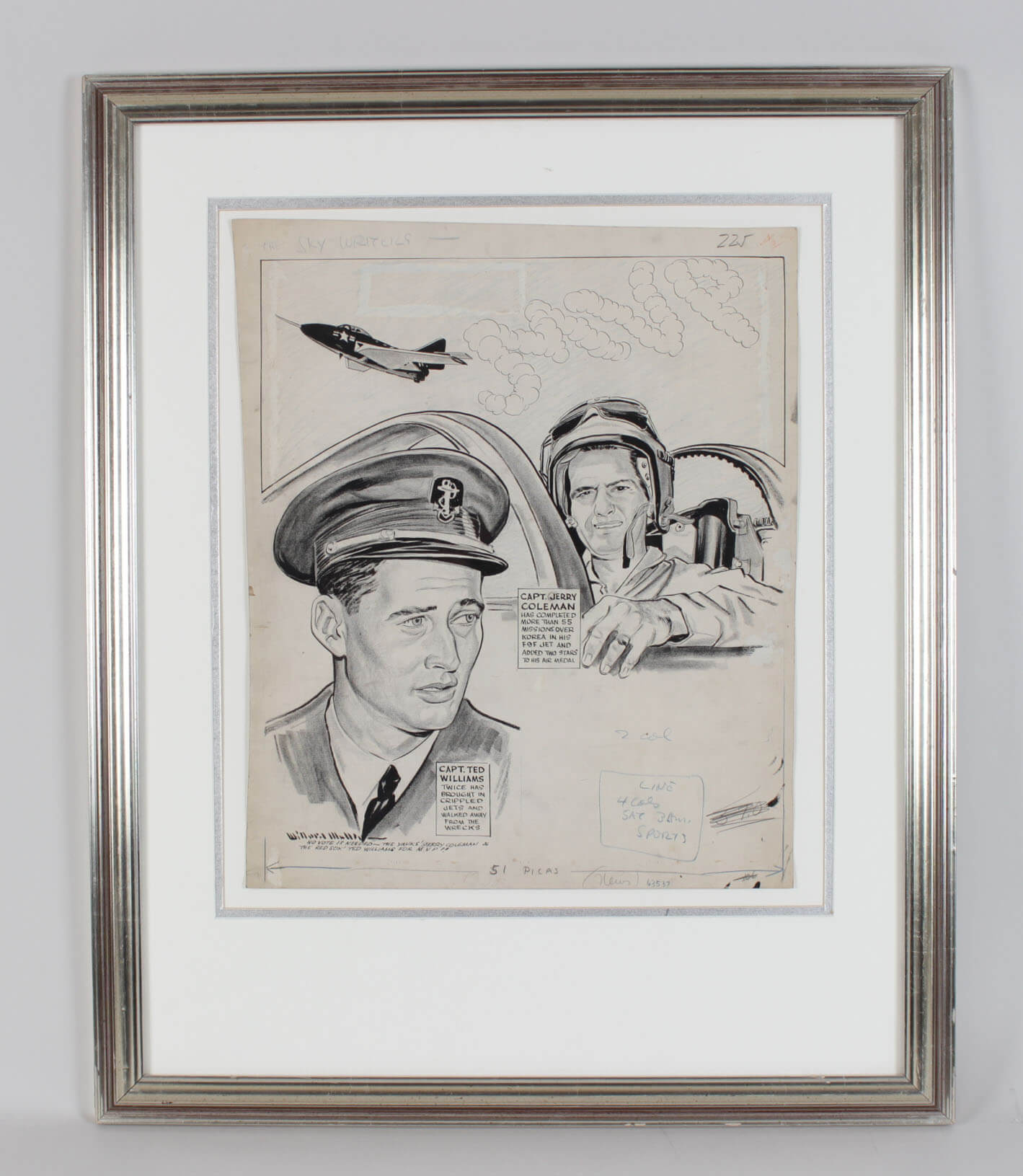 """Vintage Red Sox & Yankees Military Service Airmen - Ted Williams & Jerry Coleman """"The Skywriters"""" Original Artwork by Willard Mullin 25x31 Display"""