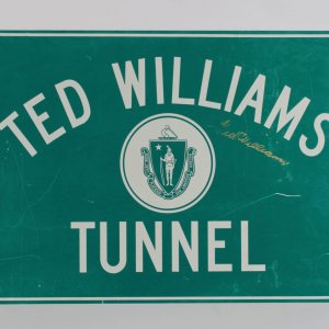 "Boston Red Sox Ted Williams Signed ""Ted Williams Tunnel"" Sign"