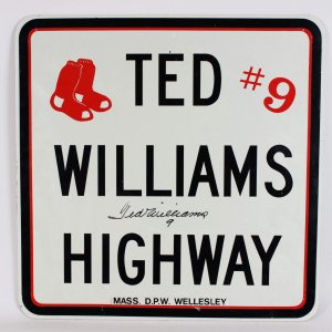 "Boston Red Sox Ted Williams Signed ""Ted Williams Highway"" Sign"