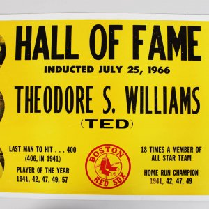 1966 Boston Red Sox H.O.F'er Ted Williams Promo Recognition 17x26 Sign