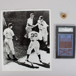 1941 A.S Game Ticket Stub (SGC ) Press Pin & Wire Photo Of Ted Walk Off HR