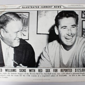 1958 Ted Williams Boston Red Sox Illustrated Current News Fold Out (12.5x19) Poster Broadside