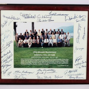 1991 Baseball Hall Of Fame Signed 19x22 Display - 35 Sigs. Ernie Banks, Ted Williams, PeeWee Reese etc