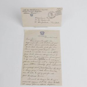 Mar 25,1943 Ted Williams Handwritten Letter On United States Navy Letter Head Naval Hospital & Pilots U.S. Navy Aviation Brief Case