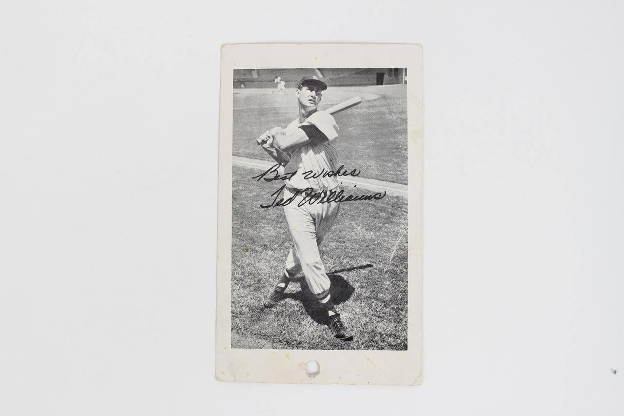 1959 Hub Apparel Advertising Postcard feat. Red Sox HOFer Ted Williams
