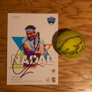 A Rafael Nadal Game-Used & Signed Tennis Match Ball.  2015 ATP Western & Southern Open.  Includes Signed Official Tournament Postcard.