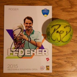 A Roger Federer Game-Used & Signed Tennis Match Ball.  2015 ATP Western & Southern Open Final.  Includes Signed Official Tournament Postcard.