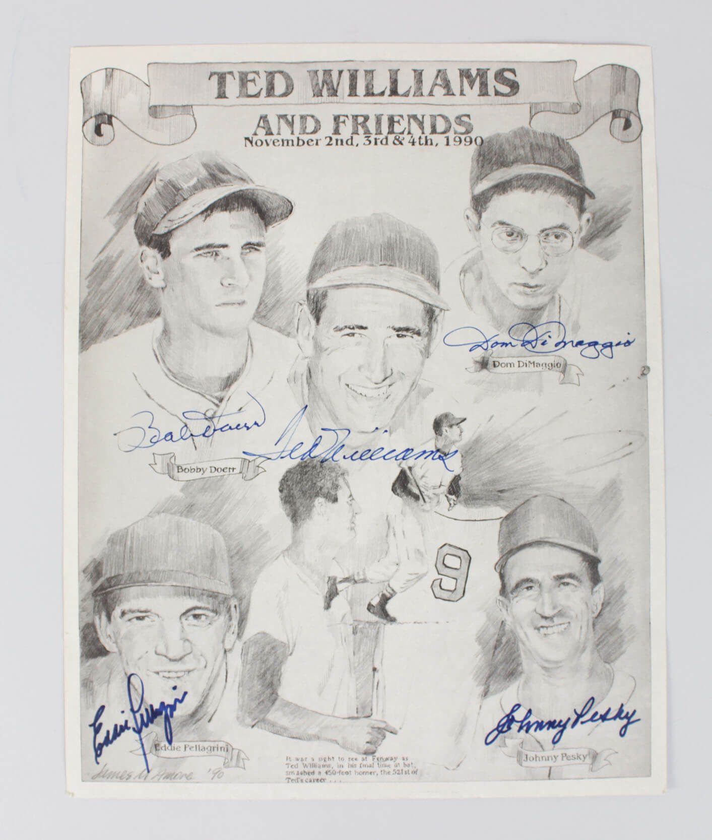 Red Sox Signed 11x14 Print - 5 Sigs. Williams, Doerr, DiMaggio etc. - JSA