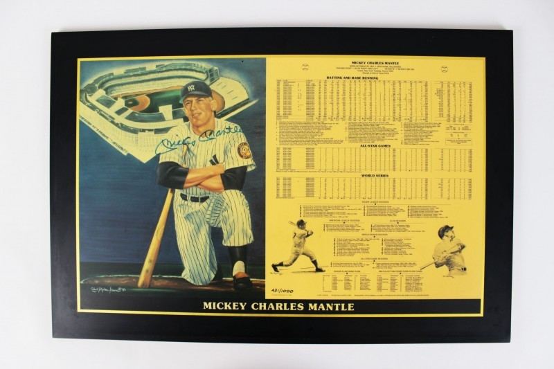New York Yankees Mickey Mantle Signed 16x23 Plaque