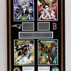 Champions of New England Signed 32x50 Display - Ortiz, Brady, Russell & Orr