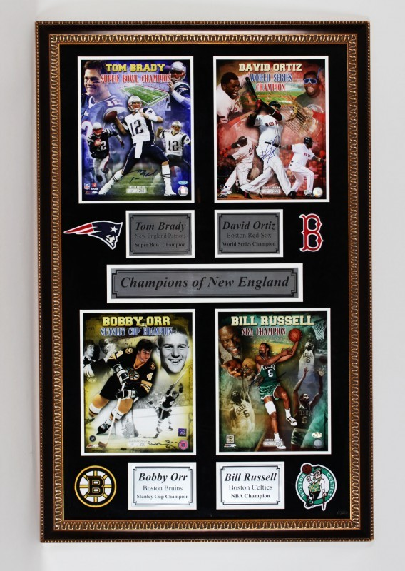 David Ortiz, Tom Brady, Bill Russell & Bobby Orr Champions of New England Limited Edition Signed 32x50 Display
