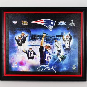 New England Patriots Tom Brady Signed 21x25 Canvas Photo