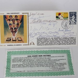 11 500 Home Run Hitters Signed Gateway Silk Cachet Commemorative Envelope Display  (w/11 incl. Mickey Mantle