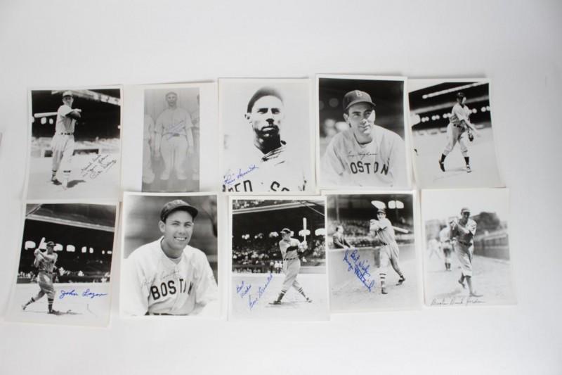 (10) Boston Red Sox Signed 8x10 B&W Photos - JSA