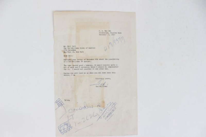 12/14/64 Red Sox - Ted Williams Signed Letter (TLS) With Great Content - JSA