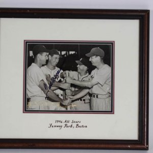 1946 Boston Red Sox - Ted Williams Signed All-Stars at Fenway Park 7x9 AP Wire News Photo in 14x15 Display