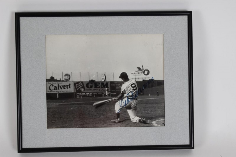 1946 Boston Red Sox Ted Williams Signed 12x15 B&W Photo Display - JSA