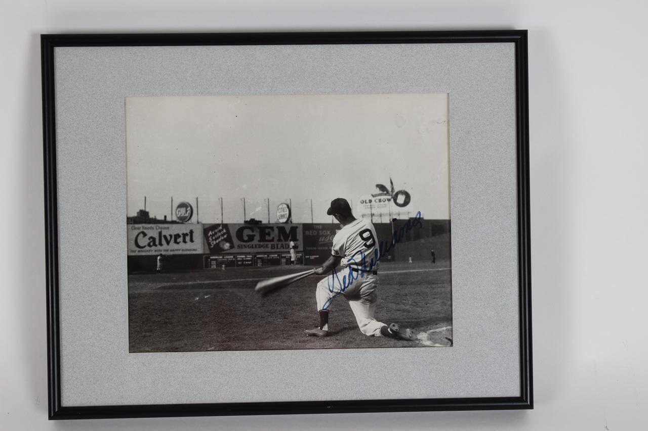1946 Boston Red Sox Ted Williams Signed 12x15 B&W Photo Display - JSA