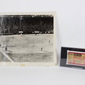 1946 Boston Red Sox World Series - Ted Williams Original Newsstand 11x14 Bunt Photo Poster by The Photocraft Co. & World Series Game 3 Ticket Stub (SGC Encapsulated Authentic)