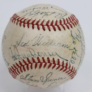 1947 American League All-Star Team-Signed OAL  (Harridge) Baseball 30 Sigs. Ted Williams