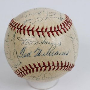 1947 Boston Red Sox Team-Signed OAL (Harridge) Baseball 26 Sigs. Incl. Ted Williams (Triple Crown Year)