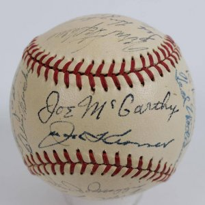 1949 Red Sox Team-Signed OAL (Harridge) Baseball 27 Sigs.- JSA Full LOA